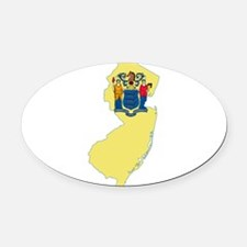 New Jersey Flag Oval Car Magnet