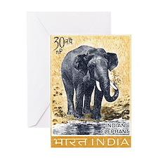 Vintage 1963 India Elephant Postage Stamp Greeting