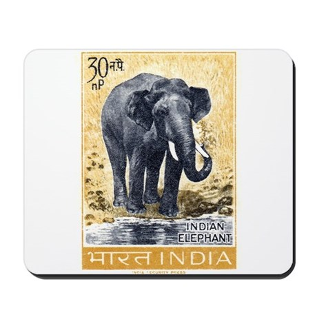 Vintage 1963 India Elephant Postage Stamp Mousepad
