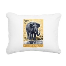 Vintage 1963 India Elephant Postage Stamp Rectangu