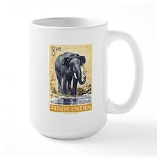 Vintage 1963 India Elephant Postage Stamp Mug