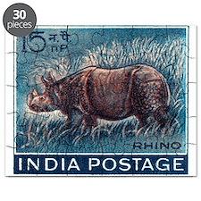 Vintage 1962 India Rhinoceros Postage Stamp Puzzle