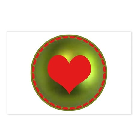Red & Green Heart Postcards (Package of 8)