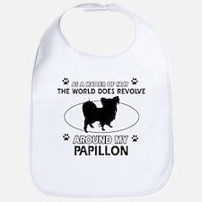 Papillon dog funny designs Bib