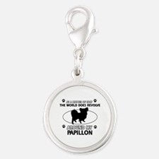 Papillon dog funny designs Silver Round Charm