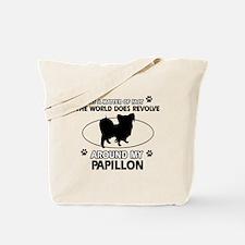 Papillon dog funny designs Tote Bag