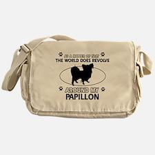 Papillon dog funny designs Messenger Bag
