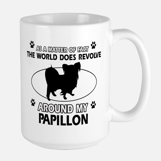 Papillon dog funny designs Large Mug