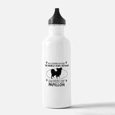 Papillon dog funny designs Water Bottle