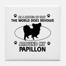 Papillon dog funny designs Tile Coaster