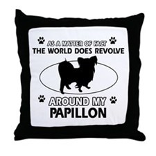 Papillon dog funny designs Throw Pillow
