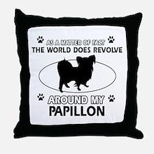 Papillon dog funny designs Throw Pillow