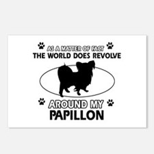 Papillon dog funny designs Postcards (Package of 8