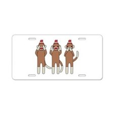 Three Monkeys Aluminum License Plate