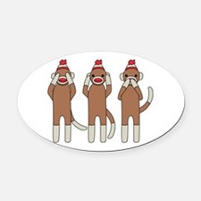 Three Monkeys Oval Car Magnet