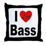 I Love Bass Throw Pillow