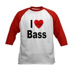 I Love Bass (Front) Kids Baseball Jersey