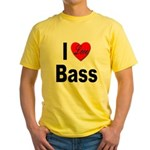 I Love Bass (Front) Yellow T-Shirt