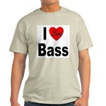 I Love Bass (Front) Ash Grey T-Shirt