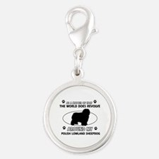Polish Lowland Sheep dog funny designs Silver Roun