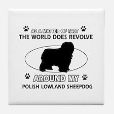 Polish Lowland Sheep dog funny designs Tile Coaste