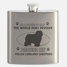 Polish Lowland Sheep dog funny designs Flask