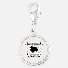 Pomeranian dog funny designs Silver Round Charm