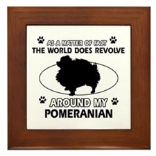 Pomeranian dog funny designs Framed Tile