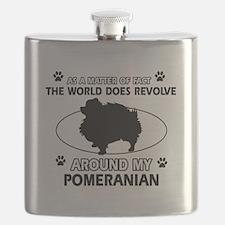 Pomeranian dog funny designs Flask