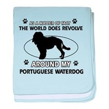 Portuguese water dog funny designs baby blanket