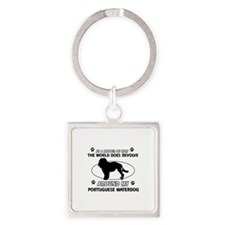 Portuguese water dog funny designs Square Keychain