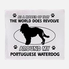 Portuguese water dog funny designs Throw Blanket
