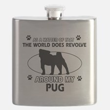 Pug dog funny designs Flask