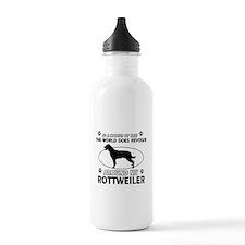 Rottweiler dog funny designs Water Bottle
