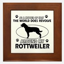 Rottweiler dog funny designs Framed Tile