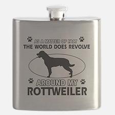 Rottweiler dog funny designs Flask