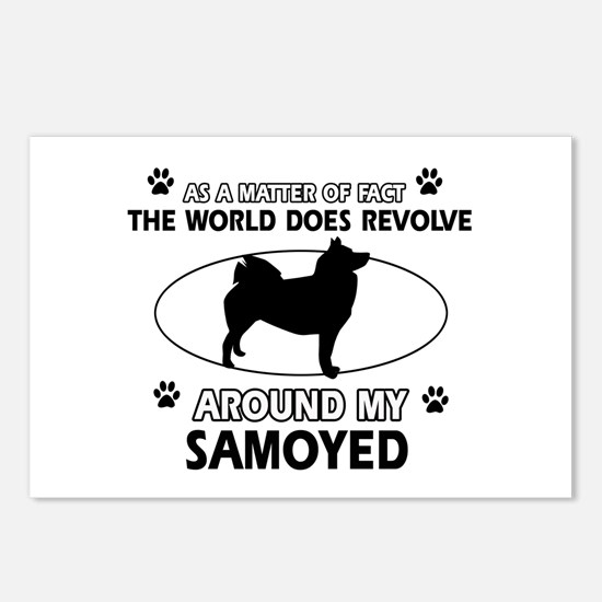 Samoyed dog funny designs Postcards (Package of 8)