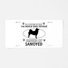 Samoyed dog funny designs Aluminum License Plate