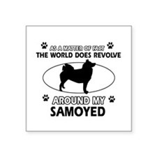 "Samoyed dog funny designs Square Sticker 3"" x 3"""