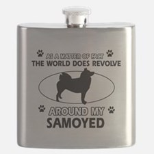 Samoyed dog funny designs Flask