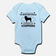 Schipperke dog funny designs Infant Bodysuit