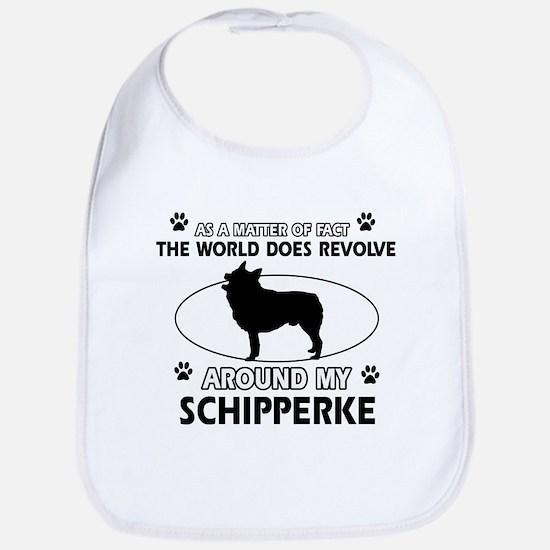 Schipperke dog funny designs Bib