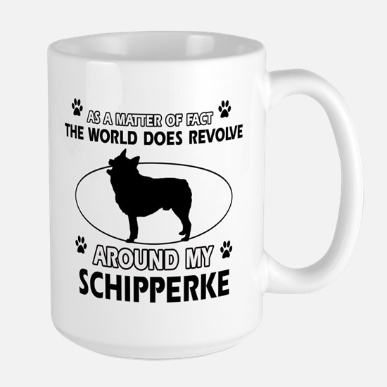 Schipperke dog funny designs Large Mug