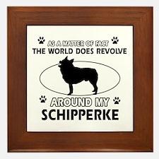 Schipperke dog funny designs Framed Tile