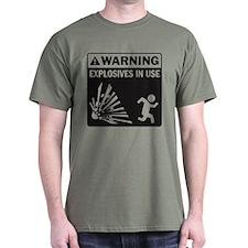 Warning: Explosives Black T-Shirt