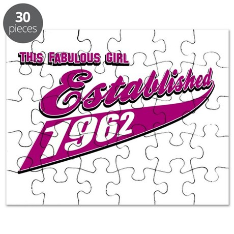 Established in 1962 birthday designs Puzzle