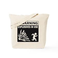 Warning: Explosives Black Tote Bag