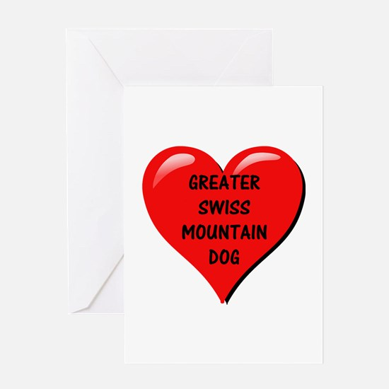 greater swiss mountain dog heart Greeting Cards