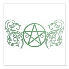 """Pretty green pentacle Square Car Magnet 3"""" x 3"""""""