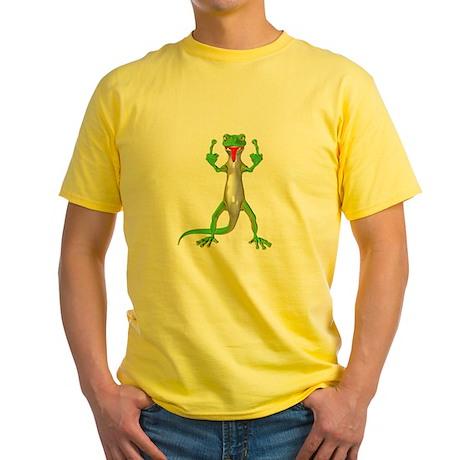 Gecko Lizard Flipping Off Yellow T-Shirt